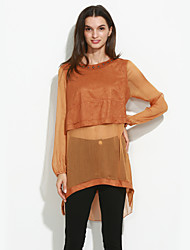 Women's Going out Sophisticated Fall ShirtSolid / Patchwork Round Neck Long Sleeve Black / Brown Polyester Medium