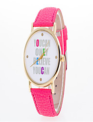 Fashion Watch Quartz Leather Band Charm Casual Word Watch Black White Blue Red Green Pink Purple Yellow Beige Navy RoseCoffee Rose Red