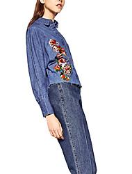 1201 европейских и американских внешней торговли хлопка цветок вышивка флэш кромка денима рубашку с длинными рукавами талии осень и зима