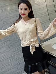 знак Luyao сексуальная мода v-образным вырезом лук труба рукава рубашки + пакет бедра юбка рыбий хвост