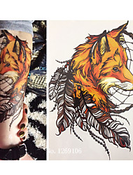 21 X 15 CM Yellow Fox and Feather Cool Beauty Tattoo Waterproof Hot Temporary Tattoo Stickers