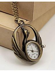 Relógio de Bolso Quartzo Lega Banda Branco Bronze