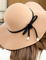 Women Wool Dome Solid Color Pearls Bowknot Fisherman Cap Hat