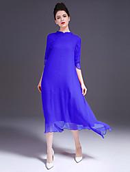 Feminino balanço Vestido,Casual Simples Sólido Colarinho Chinês Longo Meia Manga Azul Vermelho Seda Primavera Verão Cintura MédiaSem
