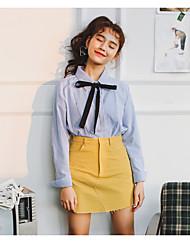 фрикадельки с пунктом весенний лук галстук с длинными рукавами, белая рубашка женский корейских диких полосатой рубашке