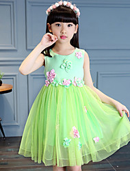Ball Gown Knee-length Flower Girl Dress - Cotton Satin Tulle Sleeveless Jewel with Flower(s) Sash / Ribbon