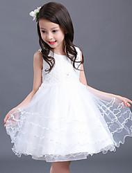Ball Gown Short / Mini Flower Girl Dress - Cotton Satin Tulle Sleeveless Jewel with Embroidery Pearl Detailing Sash / Ribbon