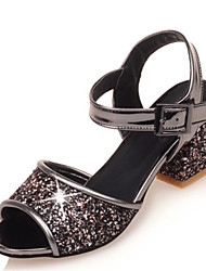 Women's Sandals Summer Club Shoes Patent Leather Glitter Customized Materials Party & Evening Dress Casual Chunky HeelSequin Buckle Split