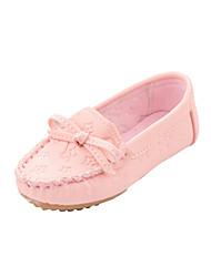 Para Niña-Tacón Plano-Primeros Pasos Zapatos de niña de las flores-Bailarinas-Exterior Informal-Semicuero-Rosa