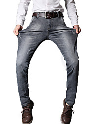 Men's Slim Jeans PantsCasual/Daily Simple Solid Mid Rise Button Cotton Polyester Micro-elastic All Seasons MG-Y607