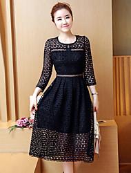 Signe 2017 modèles de printemps robe de dentelle soluble et longues sections femme mince tempérament