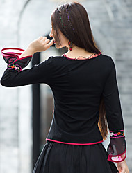 Sign original design women's national wind Slim thin embroidered long-sleeved T-shirt Blouse Fall