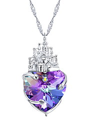 Pendant Necklaces Crystal Crystal Heart Basic Dangling Style Dark Blue Purple Jewelry Daily Casual 1pc