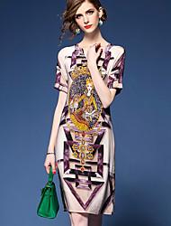Ample Robe Femme Sortie Vintage Chic de Rue,Imprimé Col en V Mi-long Manches Courtes Marron Polyester Printemps Eté Taille Normale