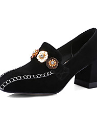 Heels Spring Summer Fall Winter Club Shoes Cashmere Office & Career Party & Evening Dress Chunky Heel Rhinestone Flower Black Pink