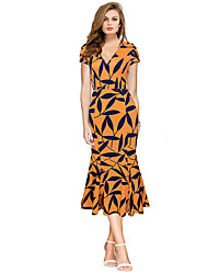 Women's Casual/Daily Formal Simple Sheath Dress,Print V Neck Midi Knee-length Short Sleeve Polyester Black Yellow All Seasons Low Rise