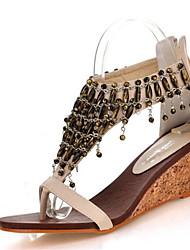 Tacón Cuña-Zapatos del club-Sandalias-Informal Vestido-Semicuero-Negro Almendra