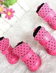 Hunde Schuhe und Stiefel Niedlich Winter einfarbig Rose PU Leder