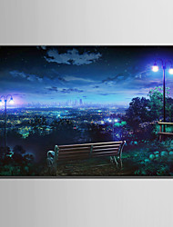 E-HOME Stretched LED Canvas Print Art Overlooking The City At Night LED Flashing Optical Fiber Print One Pcs