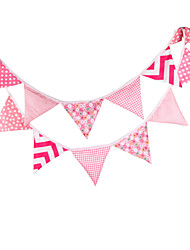 3.2m 12 Flags Pink Banner Pennant Cotton Bunting Banner Booth Props Photobooth Birthday Wedding Party Decoration