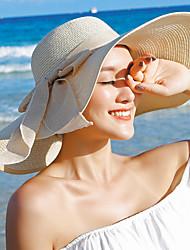 Для женщин На каждый день Широкополая шляпа Соломенная шляпа Шляпа от солнца,Лето Солома Однотонный