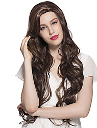 Side Part Deep Wave Synthetic Fiber Wig Long Mix Brown Cosplay Costume Wigs