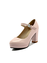 Women's Heels Basic Pump Patent Leather Spring Summer Wedding Office & Career Party & Evening Dress Basic Pump Buckle Chunky HeelIvory
