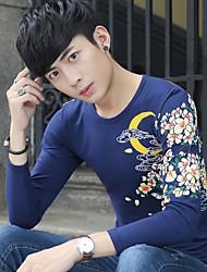 2017 Frühjahr neue Teenie-chinesisches Windkarpfen Muster gedruckt T-Shirt Männer&# 39; s langärmeligen T-Shirt
