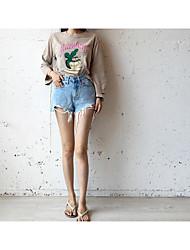 корея покупке небольшие свежие ретро рисунок буквы отверстий дикие свободные длинными рукавами футболки женщин