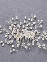 Alloy Imitation Pearl Headpiece-Wedding Special Occasion Headbands Hair Stick 3 Pieces