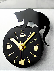 Style Leisure Time Cat Clock Refrigerator Magnets Message Posted Withdrawing Watch Fridge Magnet Mute Wall Clocks