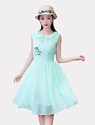 Mujer Línea A Vestido Noche Casual/Diario Simple Chic de Calle,Un Color Bordado Escote Redondo Maxi Sin Mangas Verde PoliésterPrimavera