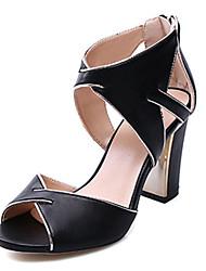 Damen-High Heels-Kleid-PU-Blockabsatz-Andere-Schwarz Weiß