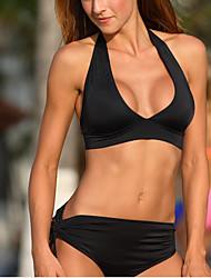 Women's Sporty Deep V Halter TankiniLace Up Push Up Black