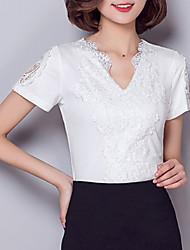 Women's Plus Size Casual/Daily Sexy Street chic Summer Blouse,Jacquard V Neck Short Sleeve Nylon Spandex Medium