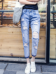 Spring and summer hole jeans female small straight pants collapse nine big yards loose, casual cotton pants tide 9