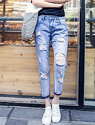 printemps et en été trou jean femme petites pantalon droit effondrement neuf grands chantiers en vrac, pantalon occasionnel de coton marée
