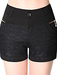 Damen Übergrössen Gerade Kurze Hosen Hose-Ausgehen Lässig/Alltäglich Einfach Niedlich einfarbig Spitze Hohe Hüfthöhe Reisverschluss Knopf