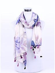 Women Acrylic Chiffon Knitwear Scarf,Vintage Cute Casual SquarePrint
