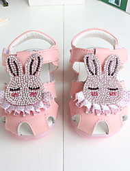 Baby Flats First Walkers Cowhide Summer Casual Outdoor Walking First Walkers Rhinestone Magic Tape Low Heel White Peach Blushing Pink Flat