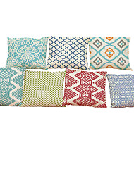 Set of 7 Geometric pattern Linen  Cushion Cover Home Office Sofa Square  Pillow Case Decorative Cushion Covers Pillowcases