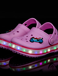 Sandals Spring Summer Fall Light Up Shoes Hole Shoes Light Soles Rubber Outdoor Athletic Casual Low Heel LED Blue Yellow Pink Walking