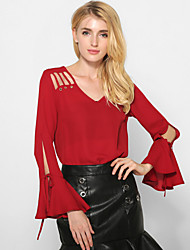 Women's Going out Casual/Daily Street chic Spring /Fall Fashion Loose Blouse Solid Cut Out V Neck Flare Sleeve Red /White /Black Polyester