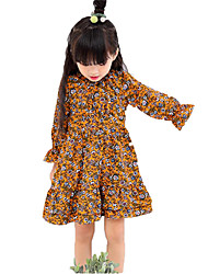 Girl's Beach Floral Dress,Cotton Spring Long Sleeve