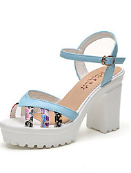 Sandals Spring Summer Fall Comfort PU Office & Career Party & Evening Dress Chunky Heel Multi-color