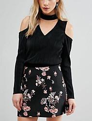 Damen Solide Einfach Lässig/Alltäglich T-shirt,V-Ausschnitt Frühling Sommer Langarm Schwarz Polyester Mittel