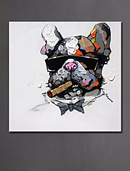 Modern Animal Oil Painting Cool Smoking Dog Pure Hand Painted Abstract Dog Canvas Painting Ready Made Frame