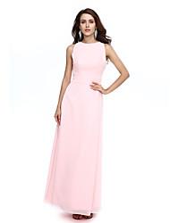 A-Fu Formal Evening Dress - Open Back Sheath / Column Jewel Floor-length Chiffon with Sash / Ribbon