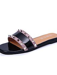 Sandals Spring Summer Fall Comfort PU Casual Flat Heel Rivet Multi-color
