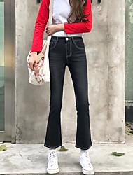 Sign Nett ~ retro black flared trousers Korean version of Slim waist denim bell-bottoms nine